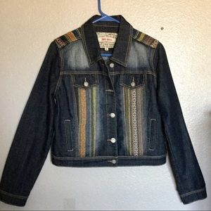 Hot Kiss cropped Aztec.Patches dark Jeans Jacket M